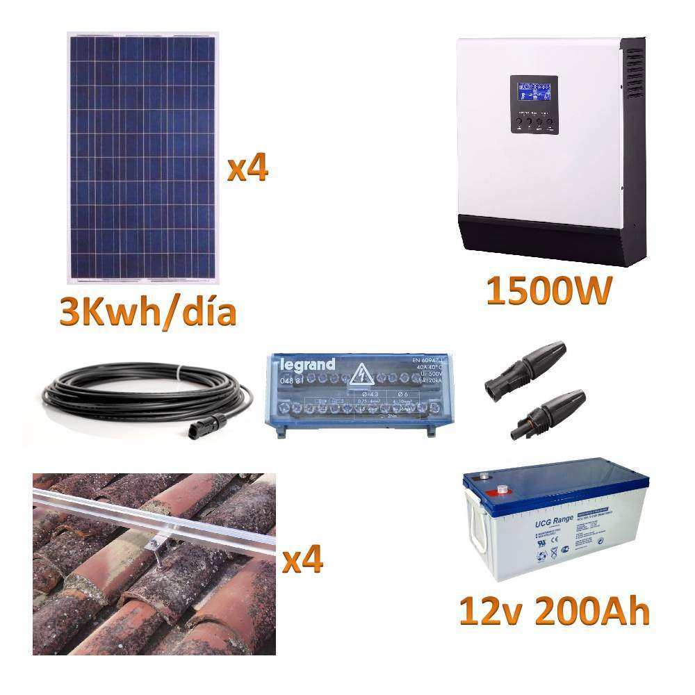 KIT SOLAR 1500W 12V GEL 3KWH/DIA